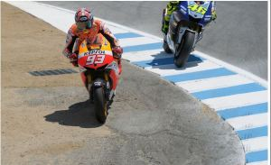 Rossi vs. Marquez Lap 4, Turn 8, 2013 Laguna Seca