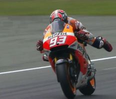 Marquez swims across the line