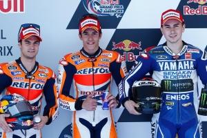 2013; 2013 MotoGP; Circuit of the Americas; Dani Pedrosa; Honda; Jorge Lorenzo; Marc Marquez; Podium; Repsol; Sport Bike Race; Yamaha; Yamaha Factory Racing