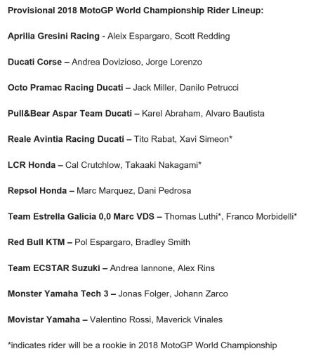 2018 Provisional Rider Lineup